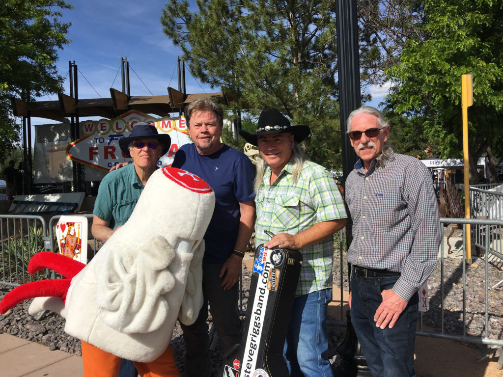 Steve Griggs Band posing with mascot in Fruita California.